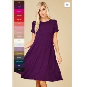 Dresses & Skirts - Purple Short Sleeve A-Line Midi Dress w/Pockets